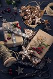 Cadeaux de vintage de Noël photo stock