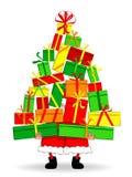 Cadeaux drôles de fixation de Santa Photographie stock libre de droits