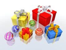 Cadeaux et billes de Noël illustration stock