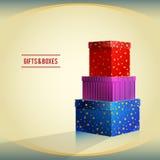Cadeaux et boîtes, rouge, pourpre, bleu Illustration de Vecteur