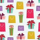 Cadeaux et modèle sans couture de sacs de cadeau Illustration de vecteur Photo stock