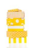 Cadeaux jaunes images stock