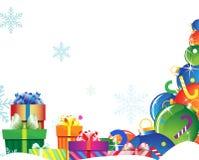 Cadeaux lumineux sur la neige Image stock