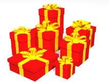 Cadeaux rouges dans 3d au-dessus d'un fond noir Image libre de droits