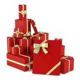 Cadeaux rouges de Noël d'isolement Photographie stock libre de droits