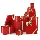 Cadeaux rouges de Noël d'isolement Image stock