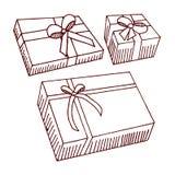 Cadeaux sur le fond blanc Photo stock