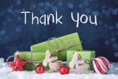 Cadeaux verts de Noël, neige, décoration, merci photos stock