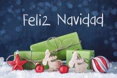 Cadeaux verts de Noël, neige, Feliz Navidad Means Merry Christmas images libres de droits