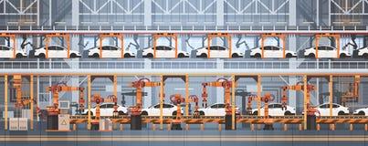 Cadeia de fabricação automática conceito do transporte da produção do carro da indústria da automatização industrial da maquinari ilustração royalty free