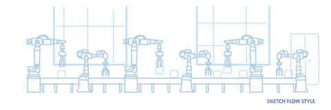 Cadeia de fabricação automática estilo do transporte da produção da fábrica do fluxo do esboço do conceito da indústria da automa ilustração royalty free