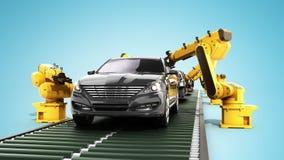 A cadeia de fabricação do robô na fábrica 3d do carro rende no azul Fotografia de Stock