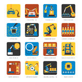 Cadeia de fabricação industrial ícones lisos ajustados Imagem de Stock Royalty Free