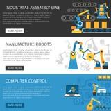 Cadeia de fabricação industrial bandeiras lisas ajustadas Foto de Stock