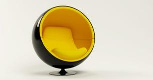 Cadeira amarela da esfera isolada no fundo branco ilustração stock