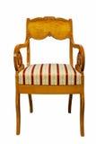 Cadeira antiga do estilo de Biedermeier com tela autêntica e cinzeladura de madeira Fotografia de Stock Royalty Free