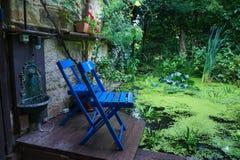 Cadeira azul Imagens de Stock