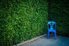 Cadeira azul no jardim Fotos de Stock Royalty Free