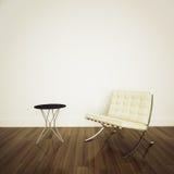 Cadeira branca de Barcelona no interi confortável moderno Imagens de Stock