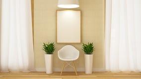 Cadeira branca de madeira com quadro e rendição de flowerpot-3D Imagens de Stock Royalty Free