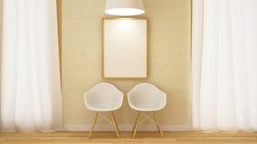 Cadeira branca de madeira com quadro e rendição pendurado de lamp-3D Imagens de Stock