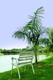 Cadeira branca pelo lago Fotos de Stock