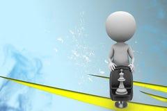cadeira 3d com ilustração da xadrez Foto de Stock Royalty Free