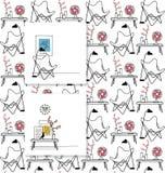 Cadeira da borboleta, cartões tirados mão e teste padrão sem emenda Imagens de Stock