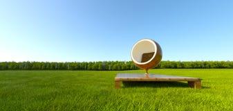 Cadeira da esfera da meditação no campo de grama ilustração royalty free