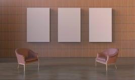 Cadeira da exposição moderna e moldura para retrato mínimas da exposição na parede de madeira simples Imagens de Stock Royalty Free