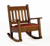 Cadeira de balanço do carvalho com coxim de couro Imagem de Stock