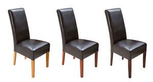 Cadeira de couro da cozinha de madeira isolada no fundo branco Imagens de Stock Royalty Free