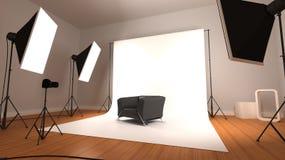 Cadeira de couro no estúdio da fotografia ilustração do vetor