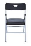 Cadeira de dobradura preta e de prata sobre o branco imagem de stock