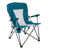 Cadeira de dobradura de turquesa para acampar ou para a pesca, em um fundo branco, isolado fotos de stock