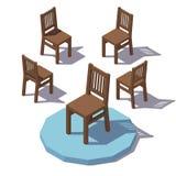 Cadeira de madeira isométrica do vetor Fotos de Stock Royalty Free