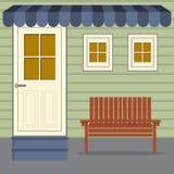 Cadeira de madeira sob o toldo das listras ilustração stock