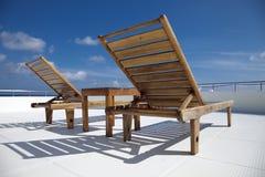 Cadeira de plataforma no navio de cruzamento Imagens de Stock Royalty Free
