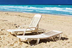 Cadeira de praia Foto de Stock Royalty Free