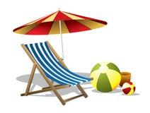 Cadeira de praia com guarda-chuva Fotos de Stock Royalty Free