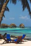 Cadeira de praia por Maldivas Imagens de Stock Royalty Free