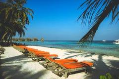 Cadeira de praia por Maldivas Imagem de Stock