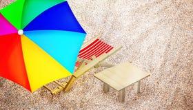 Cadeira de praia, tabela e guarda-chuva colorido multy Foto de Stock Royalty Free