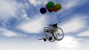 Cadeira de rodas e balões Fotos de Stock Royalty Free