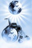 Cadeira de rodas e mundo ilustração stock