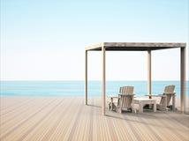 Cadeira de sala de estar simples nas praias bonitas da noite que sente confortável ilustração royalty free