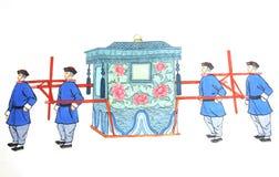 Cadeira de sedan chinesa para a noiva fotos de stock
