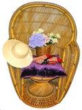 Cadeira do braço com jardinagem das ferramentas foto de stock