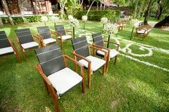 Cadeira do casamento no jardim Foto de Stock