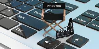 Cadeira do diretor de filme em um portátil ilustração 3D Imagens de Stock